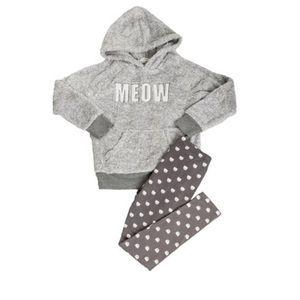 PJ Salvage Playful Pyjama Set Plush Meow Grey